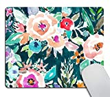 Smooffly Personalized Water Color Floral Mouse Pad Customized Rectangle Non-Slip Rubber Mousepad Gaming Mouse Pads