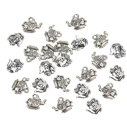Monrocco 60 pcs Teapot Charms Antique Silver Kettle Pendant - Pot Charms Silver Antique Tea
