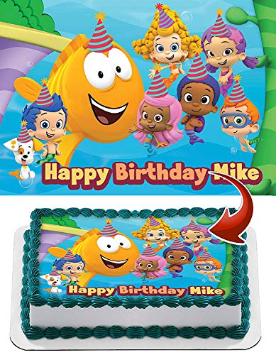 Bubble Guppies Edible Cake Topper Personalized Birthday 1/2 Size Sheet Decoration Party Birthday Sugar Frosting Transfer Fondant Image