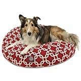 Red Links Medium Round Indoor Outdoor Pet Dog Bed With Removable Washable Cover By Majestic Pet Products