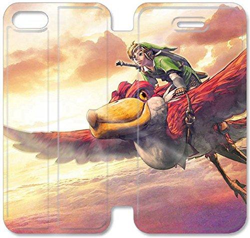 Flip étui en cuir PU Stand pour Coque iPhone 5 5S, bricolage 5 5S étui de téléphone cellulaire The Legend of Zelda Skyward Sword Jeu Q7D8VT mobiles Coque iPhone couvertures en cuir en ligne