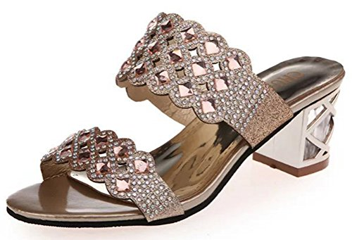 [T&Mates Womens Sweet Wedding Bride Party Rhinestone Low Heel Slippers Sandal Shoes (8] (Traditional Russian Outfits)