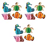 Beistle Ocean Theme Animal Centerpieces For Luau Beach Under The Sea Table Decorations Mermaid Birthday Party Supplies, Multicolored, 12 Piece