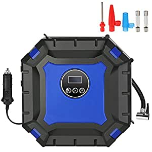 Air Compressor Pump, 12V DC Auto Shut-Off Digital Tire Inflator Portable Tyre Pump for Car - Preset Tire Pressure, Emergency Flashlight, 3 Spray Nozzle for Ball Bike Airbed Motorcycle