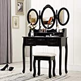 HONBAY Trifold Mirrors Makeup Vanity Table Set, Cushioned Stool and Surprise Gift Makeup Organizer with 7 Drawers Dressing Table (Black)