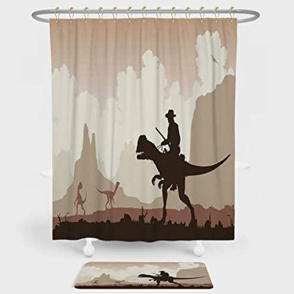 IPrint Western Shower Curtain And Floor Mat Combination Set Cowboy Riding A Dinasour Primedieval Landscape Fantastic