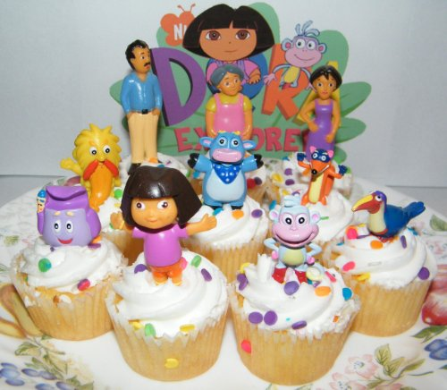 Nickelodeon Dora The Explorer Deluxe Set of 10 Cake Toppers Cupcake Toppers Party Decorations with Dora, Boots, Tico, Mom, Grandma, Backpack, Swiper and More! -  Nick Jr. Inc