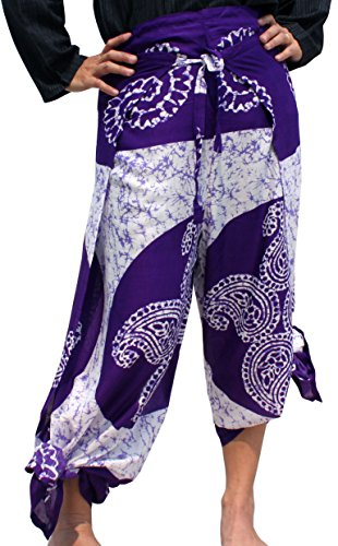 Raan Pah Muang RaanPahMuang Brand Rayon Viscose Printed Fabric Drive In Wrap Pants, Small, Nature Carving – White Violet For Sale