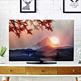 Auraisehome Cord Cover for Wall Mounted tv Majestic Himalayas Peaks Tops with Silhouette of Sun Life Circle Symbol Culture Artwork Cover Mounted tv W25 x H45 INCH/TV 47''-50''