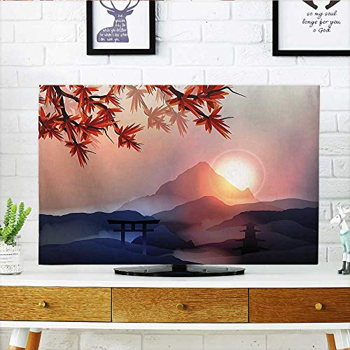 Auraisehome Cord Cover for Wall Mounted tv Majestic Himalayas Peaks Tops with Silhouette of Sun Life Circle Symbol Culture Artwork Cover Mounted tv W25 x H45 INCH/TV 47''-50'' by Auraisehome