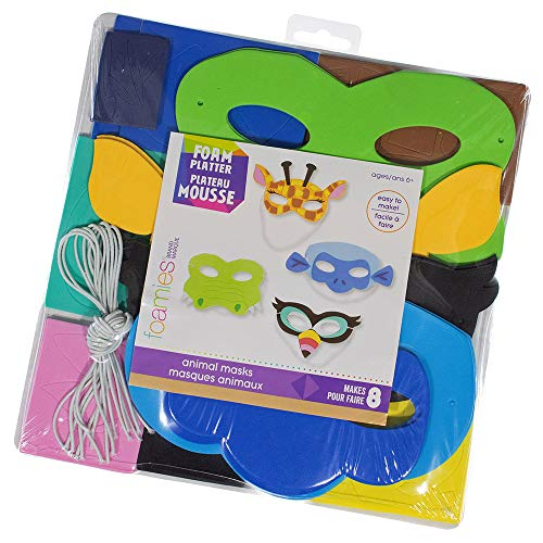 Multicolored Foam Animal Mask Kit - Includes 116 Foam Stickers, 8 Foam Shapes, 8 Elastic Cords, and 1 Cardboard Backer - Age 6+ - Makes 8]()