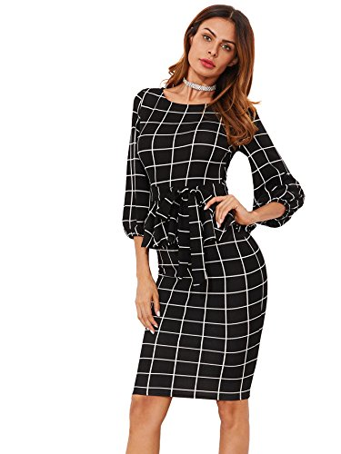 Floerns Women's Lantern Sleeve Gingham Peplum Pencil Office Dress Black-2 S