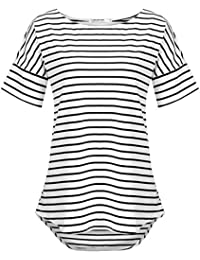 Women's Casual Raglan Short Sleeve Patchwork Striped...
