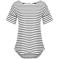 POGTMM Women's Casual Raglan Short Sleeve Patchwork Striped Cotton Shirts Loose T-Shirt Tunic Tops