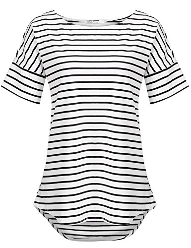 POGTMM Women's Short Sleeve Black Oversized Shirts Plus Size (Black&White, US XXL(20-22)) (Striped T-shirt Long)