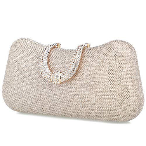 Beaded Handbags Purses Designer Purse - Rhinestone Crystal Clutch Evening Bag Women Clutch Purse for Cocktail Prom Party(Champagne)
