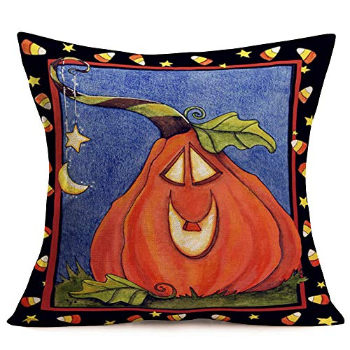Halloween Candy Quotes (Smilyard Throw Pillow Covers Vintage Halloween Pumpkin with Candies Decorative Pillow Case Cotton Linen Black Frame Decor Halloween Pillowcase Cushion Cover for Sofa Bed)