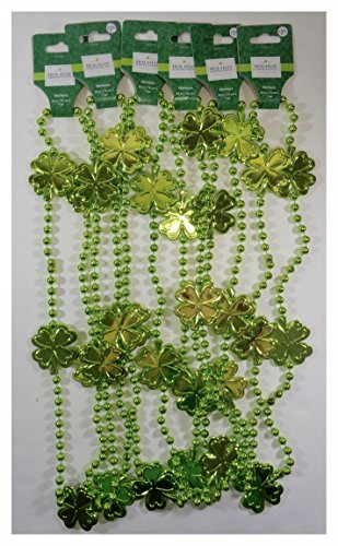 Holiday Inspirations Bulk Buy: St. Patricks Day Lime Green Shamrock Beaded Party Parade Necklaces, Pack of (6) ()