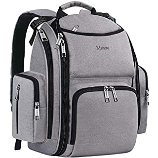 Diaper Bag Backpack, Large Travel Multifunction Waterproof Baby Nappy Changing Bag for Dad Mom with Insulated Pockets, Changing Pad, Storller Straps, Mancro Maternity Baby Bag for Boys Girls, Grey