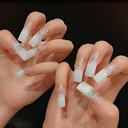 Extra Long STILETTO False Nails Pre-Designed Curved Pink Marble Press On Nails Including Glue Sticker Z716 Z473