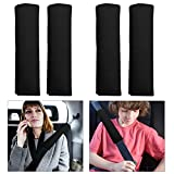 Car Safety Seat Belt Shoulder Soft Auto Seat Belt Cover Pad Seat Belt Strap Backpack Cushion Covers (Black 4PCS)