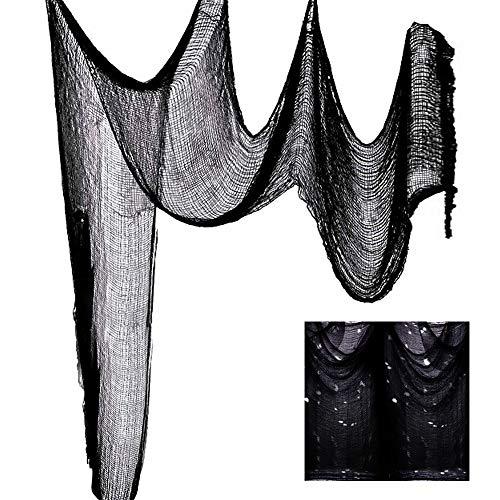 Konsait Halloween Black Creepy Cloth 78.7X300INCH, Spooky Halloween Decorations Scary Gauze Cloth for Doorways Indoor Outdoors Decorative Door Hanger Haunted Houses Party Party Favor Supplies