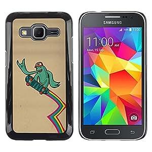 TECHCASE**Cubierta de la caja de protección la piel dura para el ** Samsung Galaxy Core Prime SM-G360 ** Green Monster Alien Skateboard Rainbow Lgbt
