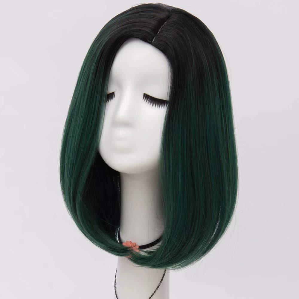 NiceLisa Parrucche allentate quotidiane del costume di cosplay dellonda della linea sottile della parte di radice dei capelli del lato verde di 40cm della signora