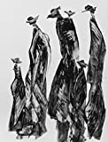 Black and White Abstract Gesture drawing with chines ink on white paper-200