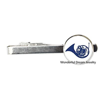 Clip de corbata con diseño de cuerno francés azul, con dije de ...