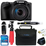 Canon Powershot SX430 (Black) + 12 Tripod + 16GB Memory Card + Pixi-Basic Accessory Bundle