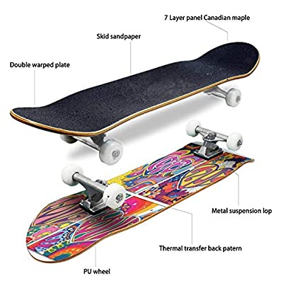 Classic Concave Skateboard Love in The Heart Psychedelic Art Posters Covers Valentine's Day Card Longboard Maple Deck Extreme Sports and Outdoors Double Kick Trick for Beginners and Professionals : Sports & Outdoors