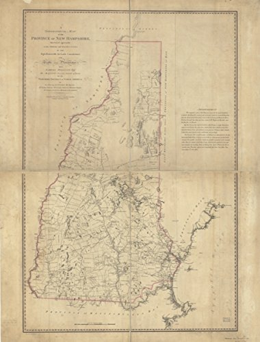 Map: 1784 A topographical of the Province of New Hampshire,|New - Locator Buy Store Georgia Best