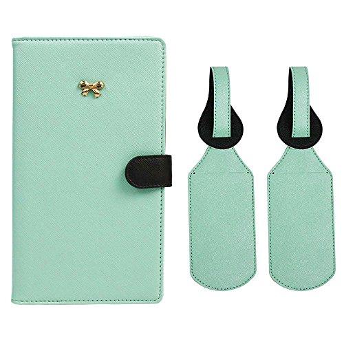 JAVOedge Travel Set: Mint/Black Two Tone Long RFID Blocking Passport Case with Pen Holder + 2 Matching Luggage ()