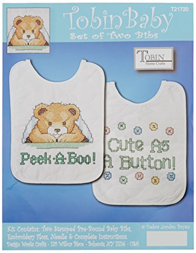 Tobin T21720 Under The Covers Bib Pair Stamped Cross Stitch Kit, 8 by 10-Inch, Set of 2
