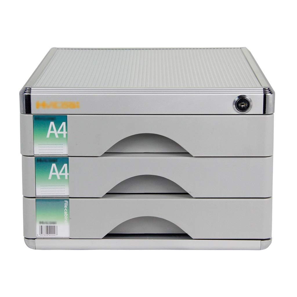 Flat File Cabinet, Drawer Organizer 3-Layers Lockable with Blank Label Aluminum Alloy - Grey(303620.5cm)
