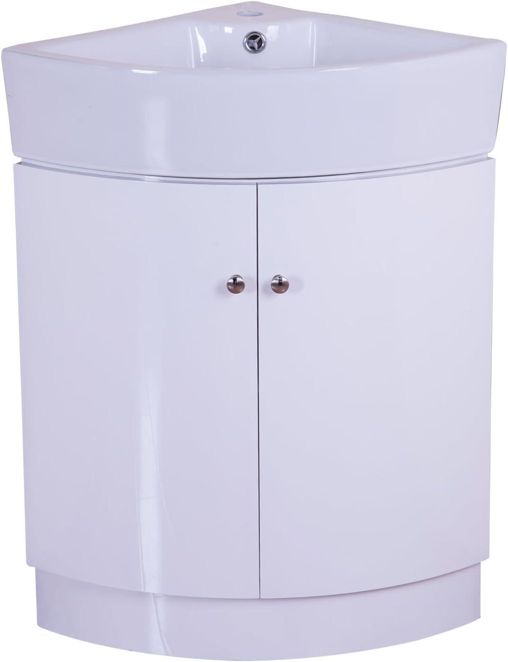 Homcom 650mm Gloss White Corner Bathroom Vanity Unit Double Door Cabinet With Ceramic Sink Basin Bathroom Suite Storage Furniture Amazon Co Uk Kitchen Home