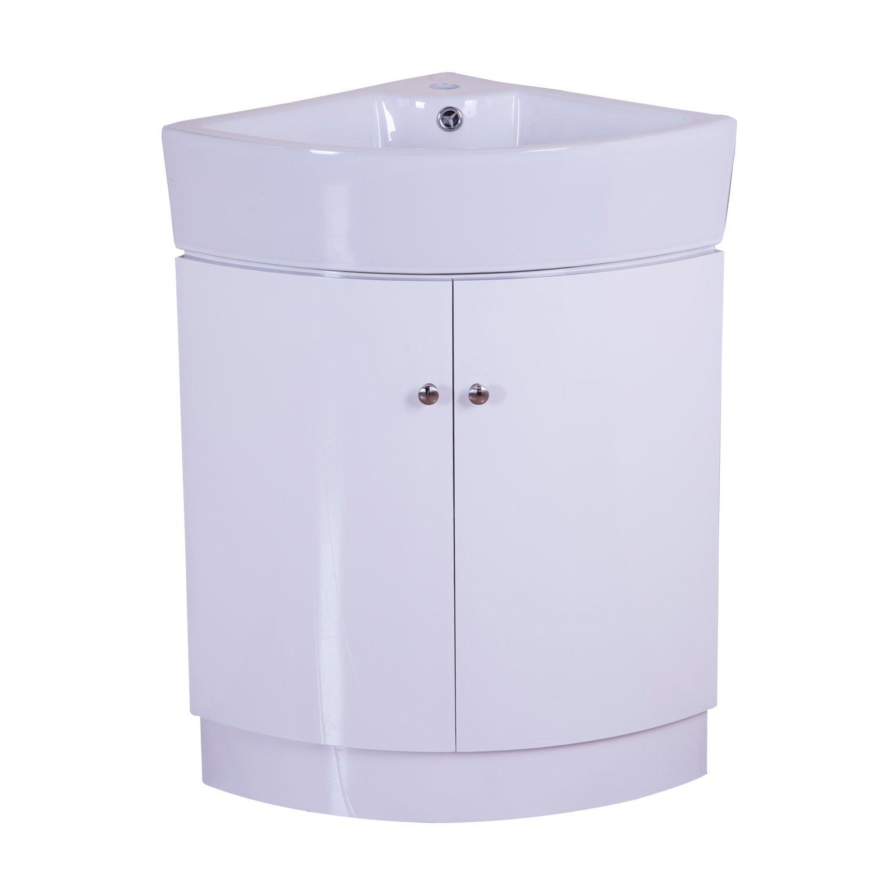 Hom 650mm Gloss White Corner Bathroom Vanity Unit Double Door