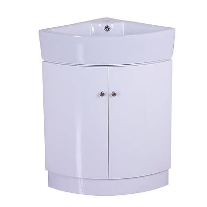 Lavabo Ad Angolo Con Mobiletto.Homcom Mobile Da Bagno Ad Angolo Con Armadietto Per Toeletta