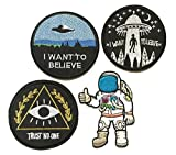 justice flat iron - Super set patch of Iron on Space Patches #6, I Want To Believe Movie X- Files Patch , I want to leave UFO Patches, Astronaut Patch, Trust No One Patch Embroidered Iron On / Sew On Patches by BossBee