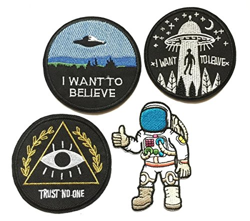 Super set patch of Iron on Space Patches #6, I Want To Believe Movie X- Files Patch , I want to leave UFO Patches, Astronaut Patch, Trust No One Patch Embroidered Iron On / Sew On Patches by BossBee