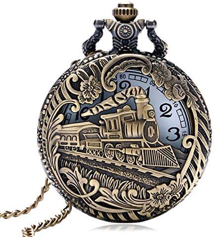 YXZQ懐中時計、ヴィンテージブロンズ中空列車機関車スチームパンククォーツ女性男性ネックレスペンダントチェーン誕生日ギフト付き