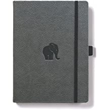 Dingbats Wildlife Extra Large A4+ (8.5 x 11.8) Notebook - PU Leather, 192 Micro-Perforated 100gsm Cream Pages, Inner Pocket, Elastic Closure, Pen Holder, Bookmark (Dot Grid, Gray Elephant)