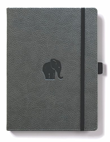 Dingbats Wildlife Medium A5+ (6.3 x 8.5) Hardcover Notebook - PU Leather, Micro-Perforated 100gsm Cream Pages, Inner Pocket, Elastic Closure, Pen Holder, Bookmark (Dot Grid, Gray Elephant) by Dingbats*