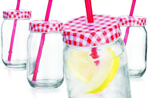Set of Four (4) 15-oz Red Gingham Mason Jar Beverage Cups ~ 4 Clear Glass Drink Cups with Metal Lid, Straw Included