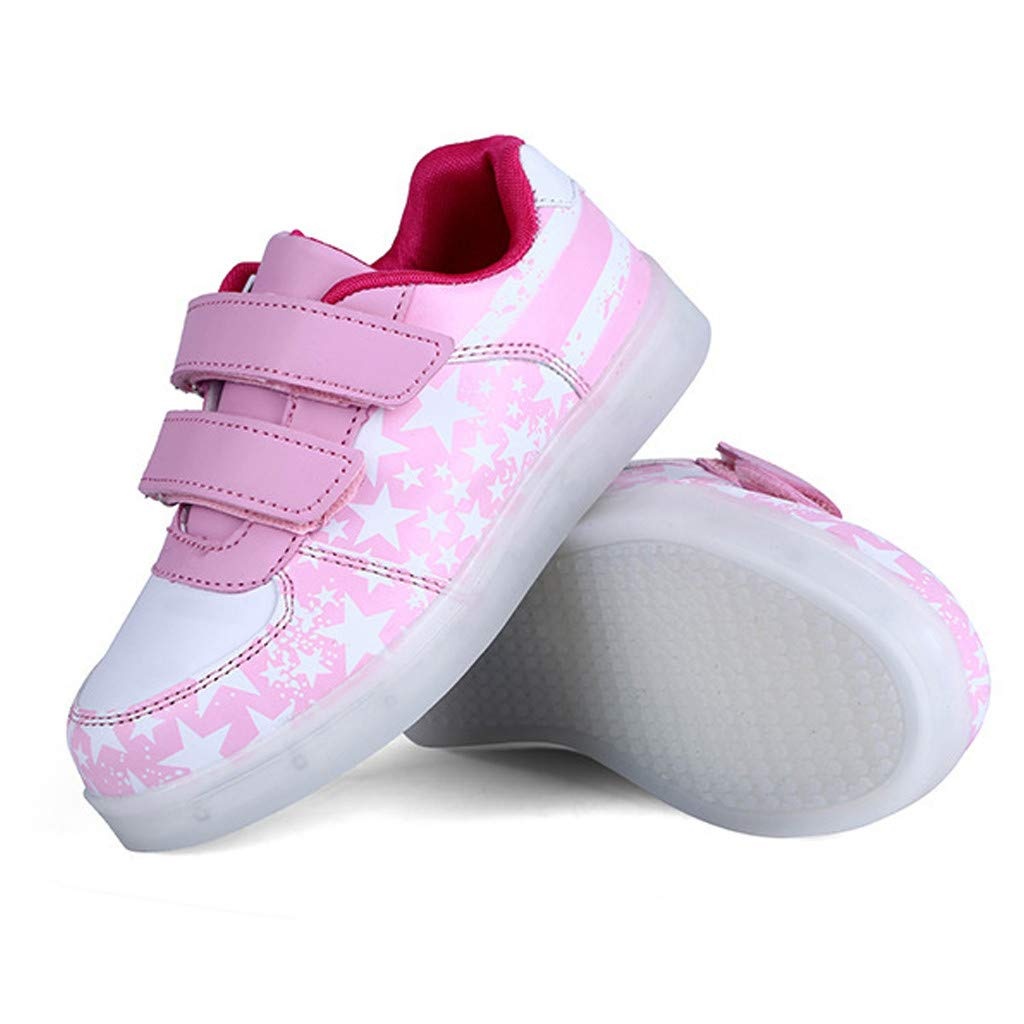 Leisuraly Shiny Night USB Charging Lace Up Led Shoes Low Top Sport Sneaker Kids Lights Up Sneakers Boys Girls American USA Flag Fashion Led Shoes(I Velcro) Pink by Leisuraly