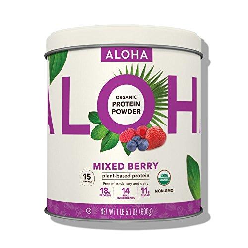 ALOHA Organic Plant Based Protein Powder, Mixed Berry, 21.1 oz, 15 Servings, Vegan, Gluten Free, Non-GMO, Stevia Free, Soy Free, Dairy Free