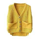 Unisex Baby Boys Girls Cute Knit Sweater Vest Kids V Neck Cardigan Waistcoat Jacket with Pockets Yellow 80