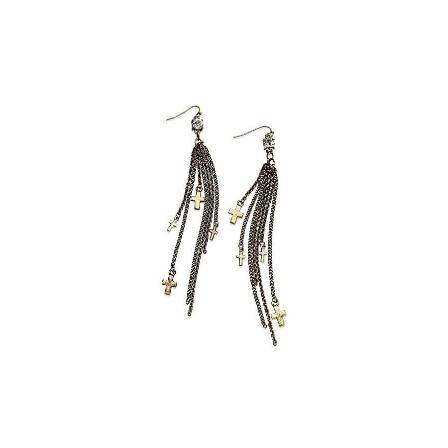 American Rag Earrings, Gold Tone Cross Multi Chain Drop Earrings
