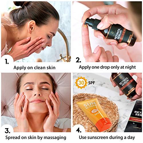51e6o9M0OLL - Retinol serum for face (2oz) with Hyaluronic Acid + Vitamin A and E + Aloe Vera Anti aging moisturizer - Fade Dark Spots - Clinical Strength Formula
